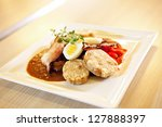 Small photo of Meat in sauce with heam, eggs and bread dumplings