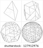 From Tetrahedron To The Ball Sphere Lines Vector - stock vector