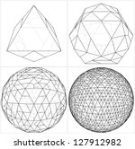 From Octahedron To The Ball Sphere Lines Vector - stock vector