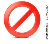 Red forbidden symbol. Isolated on white. 3d illustration. - stock photo