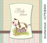 baby shower card with cute cow... | Shutterstock .eps vector #127928303