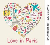 Paris symbols in heart shape - stock vector