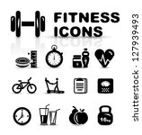 black fitness icon set isolated ... | Shutterstock .eps vector #127939493