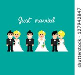 pixel art icons for wedding ... | Shutterstock .eps vector #127942847
