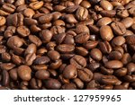 coffee beans close up isolated on white - stock photo