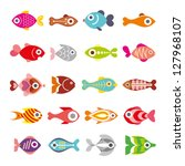Aquarium Fishes - set of vector icons. Isolated on white background. - stock vector