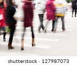 busy city street people on... | Shutterstock . vector #127987073