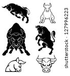 Set Of Black Silhouette On Bull