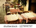 old fashioned coffee terrace... | Shutterstock . vector #127999757
