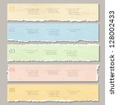 torn paper numbered banners.... | Shutterstock .eps vector #128002433