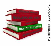 Three dimensional render of a pile of books for the concept of healthy lifestyle - stock photo