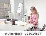 pretty young girl in a floral... | Shutterstock . vector #128014637