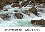 Big waterfall in the Slovakia. - stock photo
