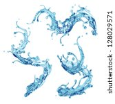 abstract 3d liquid clear water splash set - stock photo