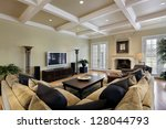 family room in luxury home with ... | Shutterstock . vector #128044793