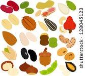 vector of beans  nuts  seeds  ... | Shutterstock .eps vector #128045123