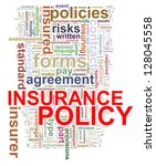 Illustration of Wordcloud word tags of concept of insurance policy - stock photo