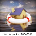 3d Illustration of house on lifesaver floating on water - stock photo