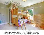 Baby girl bedroom with double bulk bed. - stock photo