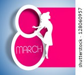 Happy Women's Day greeting card, gift card on pink background with design of a women and text 8th March.