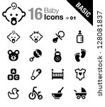 Stock vector basic baby icons 128081837