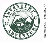 Grunge rubber stamp with words offroad adventure, vector illustration - stock vector
