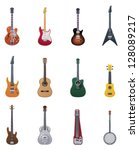 Vector guitars icon set - stock vector