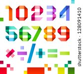 Spectral numbers folded of paper ribbon color - Arabic numerals (0, 1, 2, 3, 4, 5, 6, 7, 8, 9), vector illustration - stock vector