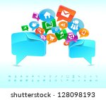 social background network of... | Shutterstock .eps vector #128098193