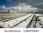 The beginning of railway tracks in Sofia, Bulgaria - Metro - stock photo