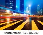 the light trails on the modern... | Shutterstock . vector #128102357