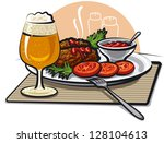 beer  cutlets and sauce | Shutterstock .eps vector #128104613