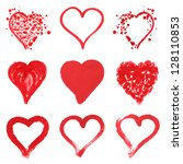 set of nine painted hearts... | Shutterstock . vector #128110853