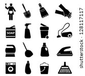 Cleaning supplies and tools icon set - stock vector