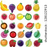 cartoon vegetables and fruits | Shutterstock .eps vector #128122913