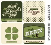 4 set of St. Patrick's day card - typography poster - stock vector