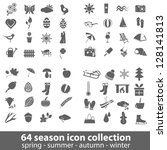 64 season icon collection - stock vector