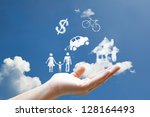 clouds shape floating on hand | Shutterstock . vector #128164493