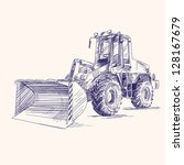 loader bulldozer excavator machine hand drawn vector illustratioloader bulldozer excavator machine - stock vector