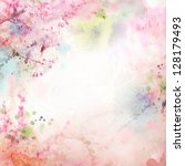 Stock photo scenic watercolor background floral composition sakura 128179493