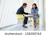 businessman and businesswoman... | Shutterstock . vector #128200763