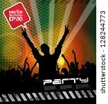 crowd of people. concert... | Shutterstock .eps vector #128244773