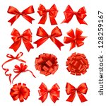 big set of red gift bows with... | Shutterstock . vector #128259167