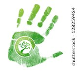 Green handprint eco, bio illustration design over a white background - stock photo