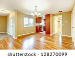 New empty dining room and kitchen interior. - stock photo