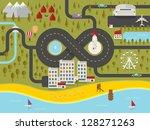 map of resort town. vector... | Shutterstock .eps vector #128271263