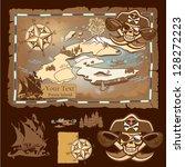 pirate map | Shutterstock .eps vector #128272223
