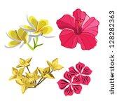 set of realistic flowers ... | Shutterstock .eps vector #128282363