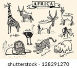 african animals set - stock vector