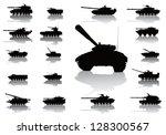 tanks detailed silhouettes set. ...